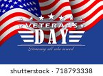 veterans day background with... | Shutterstock .eps vector #718793338