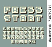 3d pixel video game 8 bit font. ... | Shutterstock .eps vector #718797514