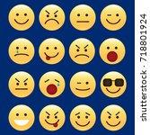 set of smile icons. emoji.... | Shutterstock .eps vector #718801924