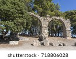 the remains of the aqueduct at... | Shutterstock . vector #718806028