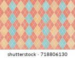 watercolor blue  beige and pink ... | Shutterstock . vector #718806130