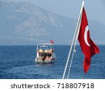 view of the tourist boat with... | Shutterstock . vector #718807918