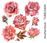 set of red watercolor roses | Shutterstock . vector #718812604