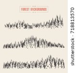 collection of the pine forest... | Shutterstock .eps vector #718813570