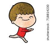 cartoon happy boy | Shutterstock .eps vector #718814230