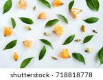 floral pattern made of pink and ...   Shutterstock . vector #718818778