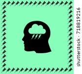 head profile with thunder cloud ... | Shutterstock .eps vector #718819216