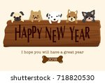 japanese new year's card in... | Shutterstock .eps vector #718820530