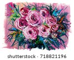 Oil Painting A Bouquet Of Rose...