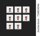 pixel art male character run... | Shutterstock .eps vector #718824046