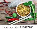thai food  curry  fish  grains  ... | Shutterstock . vector #718827700