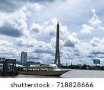 the chao phraya express boat... | Shutterstock . vector #718828666