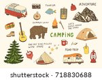 doodle set of camping equipment ... | Shutterstock . vector #718830688