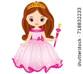 vector beautiful princess in... | Shutterstock .eps vector #718832233