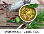 thai food  curry  fish  grains  ... | Shutterstock . vector #718834123