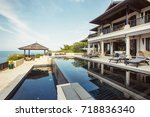 swimming pool with sea view in... | Shutterstock . vector #718836340