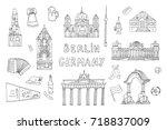 doodle germany berlin travel...   Shutterstock . vector #718837009