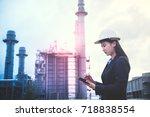 woman engineer and men engineer ... | Shutterstock . vector #718838554