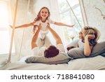 happy family is having fun in... | Shutterstock . vector #718841080