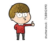 cartoon curious boy giving...   Shutterstock .eps vector #718842490