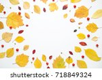 autumnal frame of yellow leaves ... | Shutterstock . vector #718849324