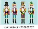 vector nutcracker soldier flat... | Shutterstock .eps vector #718852570