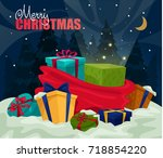 new year or merry christmas... | Shutterstock .eps vector #718854220