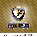 golden badge with broken heart ... | Shutterstock .eps vector #718854430