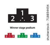 winner stage podium icon vector ... | Shutterstock .eps vector #718854454