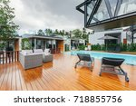tropical summer luxury villa... | Shutterstock . vector #718855756