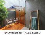 outdoor bathroom in tropical... | Shutterstock . vector #718856050