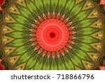 red with green geometric... | Shutterstock . vector #718866796