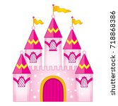 vector magic princess castle.... | Shutterstock .eps vector #718868386
