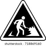 men working warning sign | Shutterstock .eps vector #718869160