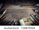 paint tubes  brushes for... | Shutterstock . vector #718870564