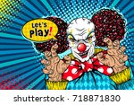 let's play  evil scary clown... | Shutterstock .eps vector #718871830