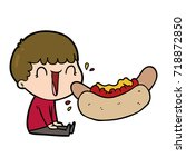 laughing cartoon man eating... | Shutterstock .eps vector #718872850