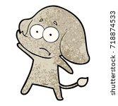 cartoon unsure elephant | Shutterstock .eps vector #718874533