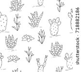 vector black white contour... | Shutterstock .eps vector #718882186