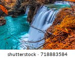 te lor su waterfall in... | Shutterstock . vector #718883584