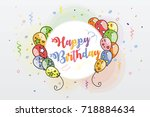 colorful happy birthday... | Shutterstock .eps vector #718884634