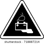 battery warning hazard... | Shutterstock .eps vector #718887214