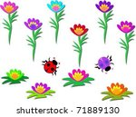 mix flower pods and ladybugs | Shutterstock .eps vector #71889130