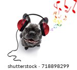 cool dj french bulldog dog... | Shutterstock . vector #718898299