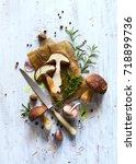 autumn cooking  background  ... | Shutterstock . vector #718899736