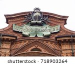 detail of the facade of the... | Shutterstock . vector #718903264