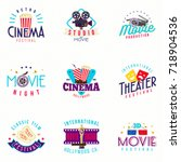 retro style cinema and theater... | Shutterstock .eps vector #718904536