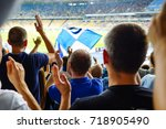 hand fans who clap their hands... | Shutterstock . vector #718905490