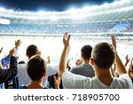 hand fans who clap their hands... | Shutterstock . vector #718905700