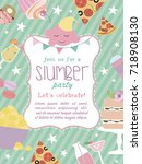 slumber party invitation card.... | Shutterstock .eps vector #718908130